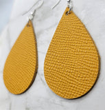 Mustard Yellow Textured Teardrop Shaped Leather Earrings