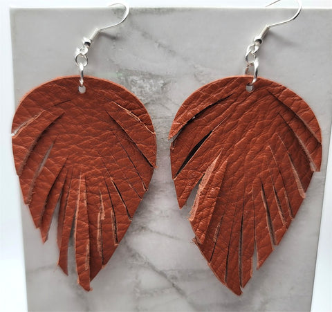 Soft Brown Real Leather Earrings with Feathered Fringe