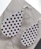 White with Black Polka Dots Tear Drop Shaped Real Leather Earrings