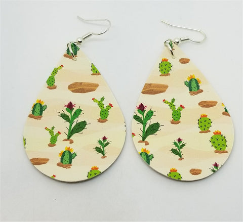 Cactus Tear Drop Shaped FAUX Leather Earrings