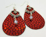 Red Metallic Cobblestone Tear Drop Shaped FAUX Leather Earrings with Heart and Swarovski Crystal Dangles