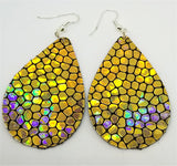 Gold Metallic Cobblestone Tear Drop Shaped FAUX Leather Earrings