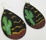 Hand Drawn Southwestern Scene on Real Leather Teardrop Earrings