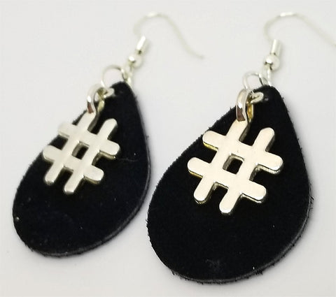 Black Teardrop Suede Leather Earrings with Silver Hashtag Charms