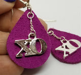 Fuchsia Teardrop Suede Leather Earrings with XO Charms