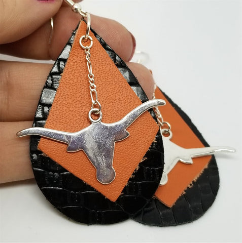 Black Tear Drop Shaped Leather Earrings with Burnt Orange Leather and Longhorn Charm Dangles