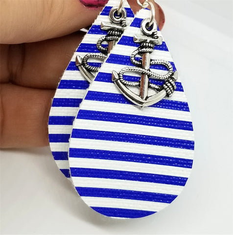 Nautical Blue and White Striped FAUX Leather Earrings with Anchor Charms