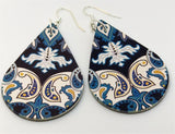 Black with Blue Paisley Pattern FAUX Leather Teardrop Earrings