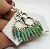 Silver Foil Real Leather Earrings with Picasso Glass Bead Dangles