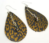 Bronze Leopard Print Teardrop Shaped Leather Earrings with Swarovski Crystal Dangles