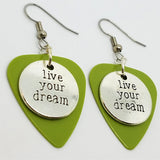Live Your Dream Charm Guitar Pick Earrings - Pick Your Color