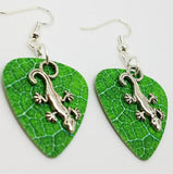 Lizard Charm Guitar Pick Earrings - Pick Your Color