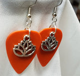 Lotus Flower Charm Guitar Pick Earrings - Pick Your Color