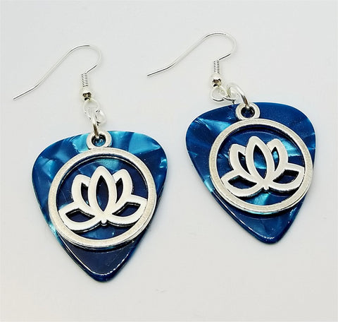 Encircled Lotus Flower Charm Guitar Pick Earrings - Pick Your Color