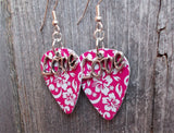 Love Text Charm Guitar Pick Earrings - Pick Your Color