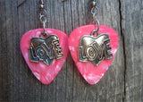 Love Heart Charm Guitar Pick Earrings - Pick Your Color