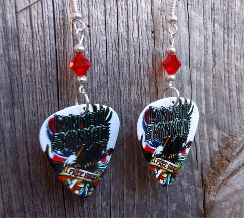 Lynyrd Skynyrd Free Bird Guitar Pick Earrings with Red Swarovski Crystals