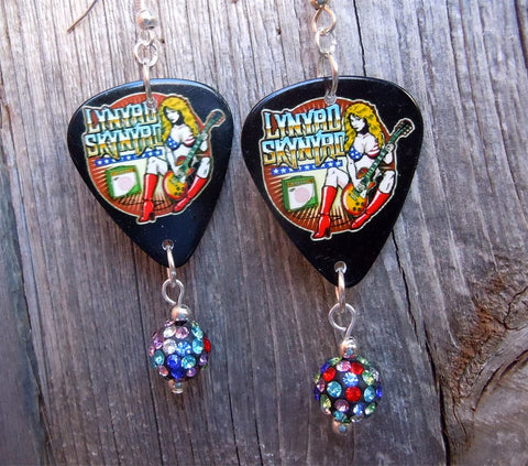 Lynyrd Skynyrd Bikini Girl Guitar Pick Earrings with Multicolor Pave Bead Dangles