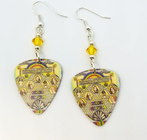 Lynyrd Skynyrd Second Helping Guitar Pick Earrings with Yellow Swarovski Crystals