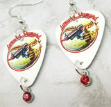Lynyrd Skynyrd Best of the Rest Guitar Pick Earrings with Red Crystal Charm Dangles