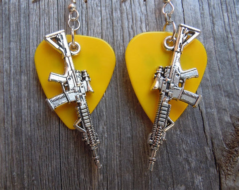 Machine Gun Charm Guitar Pick Earrings - Pick Your Color