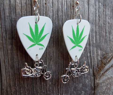 Marijuana Leaf Guitar Pick Earrings with Motorcycle Charms