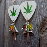 Marijuana Leaf Guitar Pick Earrings with Mushroom Charms and Swarovski Crystal Dangles