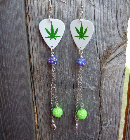 Marijuana Leaf Guitar Pick Earrings with Extra Long Mushroom and Rhinestone Dangles