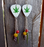 Marijuana Leaf Guitar Pick Earrings with Dangles