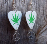 Marijuana Leaf Guitar Pick Earrings with Peace Sign Charms