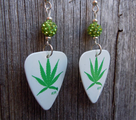 Marijuana Leaf Guitar Pick Earrings with Green Pave Beads