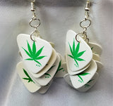 Marijuana Leaf Guitar Pick Cascading Earrings