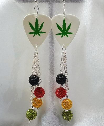 Marijuana Leaf Guitar Pick Earrings with Pave Bead Dangles
