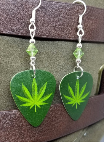 Marijuana Leaf Guitar Pick Earrings with Green Swarovski Crystals