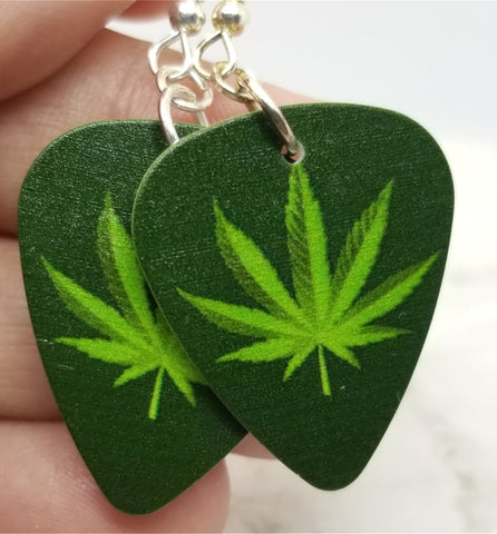 Marijuana Leaf Guitar Pick Earrings