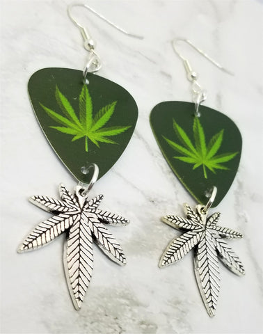 Marijuana Leaf Guitar Pick Earrings with Marijuana Leaf Charm Dangles