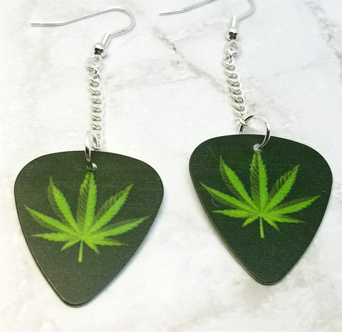Marijuana Leaf Dangling Guitar Pick Earrings