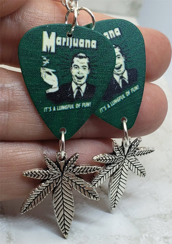 Marijuana Ad Guitar Pick Earrings with Marijuana Leaf Charm Dangles