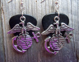Marine Corps Insignia Charm Guitar Pick Earrings - Pick Your Color