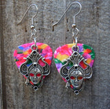 Fancy Face Mask Charm Guitar Pick Earrings - Pick Your Color