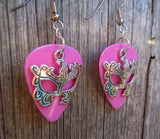 Elaborate Eye Mask Charm Guitar Pick Earrings - Pick Your Color