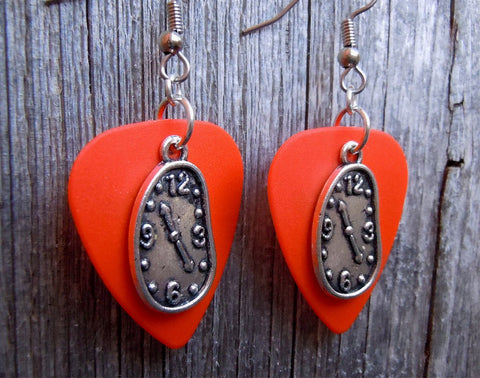 Melting Clock Charm Guitar Pick Earrings - Pick Your Color