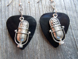 Retro Microphone Charm Guitar Pick Earrings - Pick Your Color