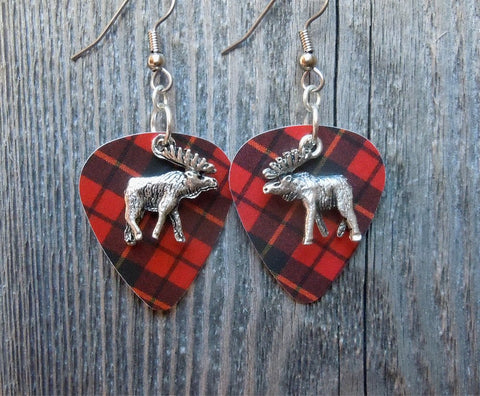 Moose Charm Guitar Pick Earrings - Pick Your Color