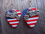 Motorcycle Charm Guitar Pick Earrings - Pick Your Color