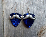 Silver Mustache Charm Guitar Pick Earrings - Pick Your Color