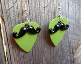 Black Mustache Charm Guitar Pick Earrings - Pick Your Color