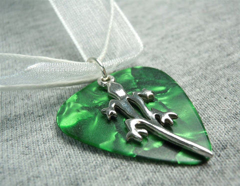 Lizard Charm on a Green GOP Guitar Pick With a White Ribbon Necklace