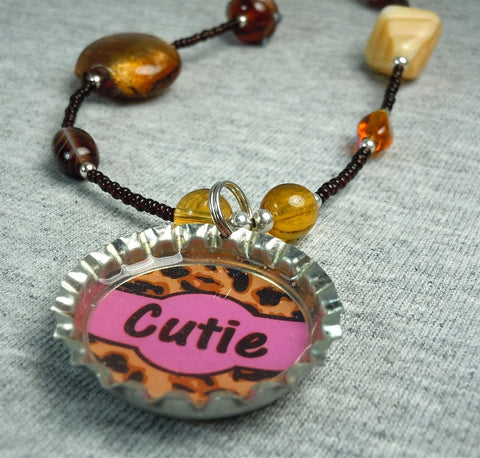 Brown Glass Bead Necklace with Bottlecap Cheetah Print Cutie Pendant