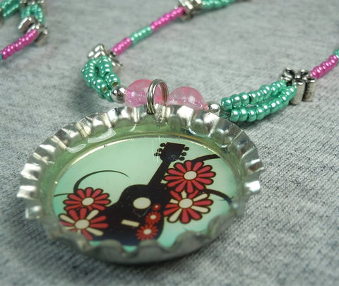 Pink and Green Guitar and Flowers Necklace and Bottlecap Pendant